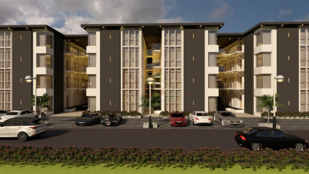 cars parked in front of 1 bedroom luxury apartment in abuja