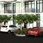 cars and trees in front of 2 bedroom apartment without boys quarters in abuja.